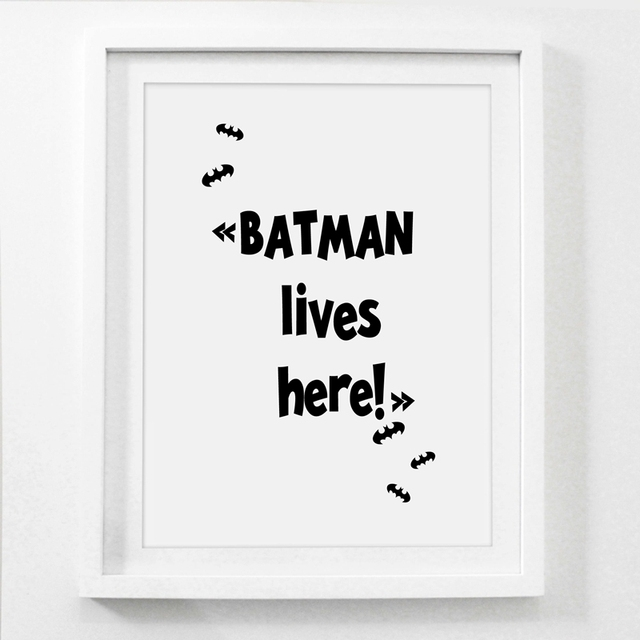 Nordic Style Superhero Batman Canvas Painting Wall Picture , Superhero Quote Canvas Art Print Boys Room Decor Wall Art Poster 4