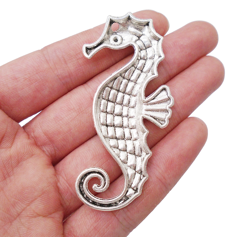 5Pcs Large Antique Silver Tone Seahorse Charms Pendants Jewelry Necklace Making
