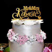 Mr & Mrs Wedding Name Topper , Customized wooden acrylic wedding cake topper  Personalized