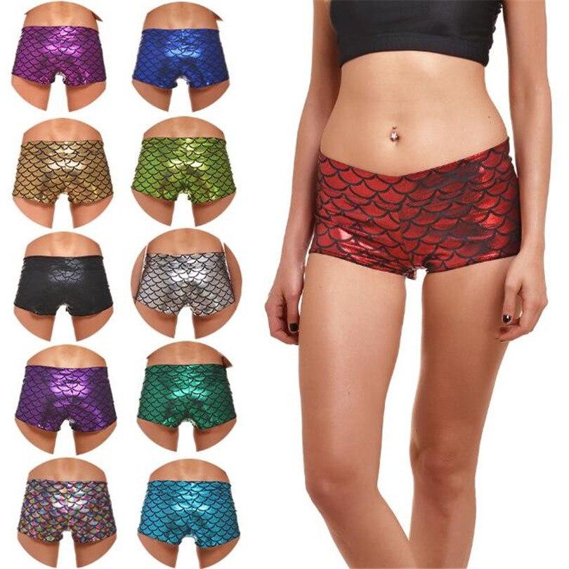 VISNXGI Women Ladies Fish Scale Shorts High Waist Mermaid Skinny Stretch Beach Slim Short Casual Female Skinny Summer Shorts
