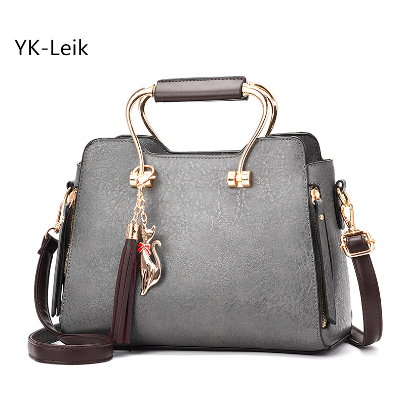 2017 Koreanische Frauen Vintage Handtaschen Hochwertige Pu-leder Troddelschulterbeutel Messenger Bags Allgleiches Handtasche Bolsa Femini HeißEr Verkauf 50-70% Rabatt