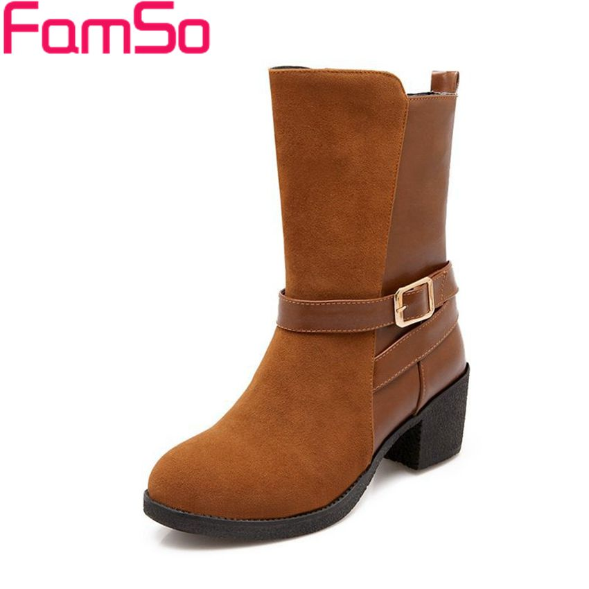 Plus Size34 43 2016 New Sexy Autumn Mid Calf Motorcycle Boots buckle High Thick Heels Winter