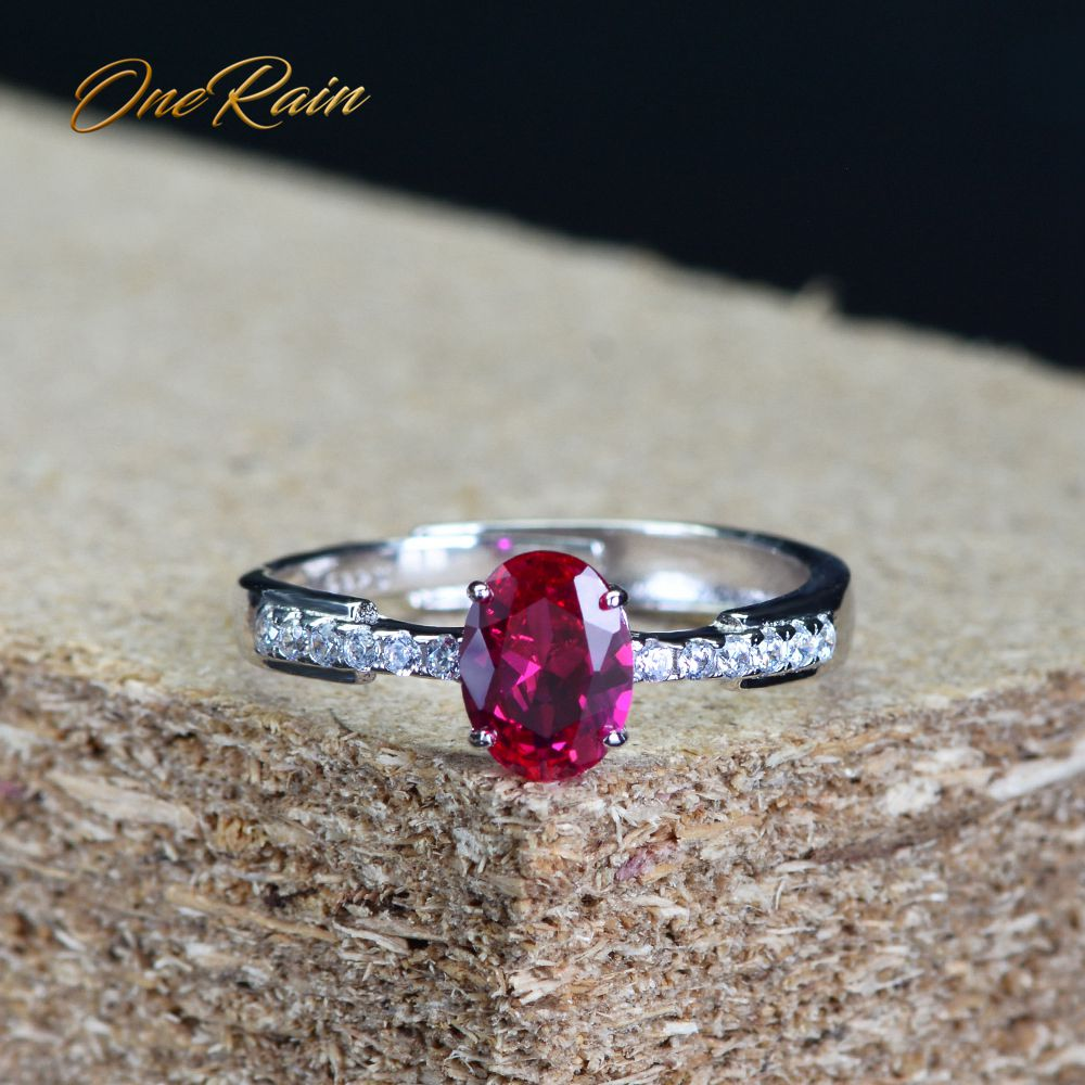 OneRain Simple 100% 925 Sterling Silver Natural Oval Ruby Gemstone Wedding Engagement Opening Adjustable Ring Jewelry Wholesale