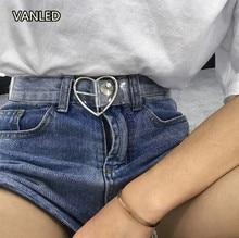 ФОТО preppy style women's cute transparent belt heart buckle waist sweet female belt