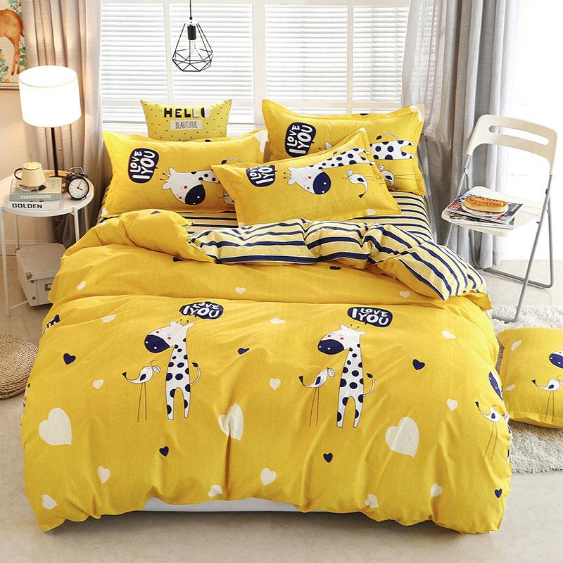 Deer Stripe 4pcs Girl Boy Kid Bed Cover Set Duvet Cover Adult Child Bed Sheets And Pillowcases Comforter Bedding Set 2TJ-61006