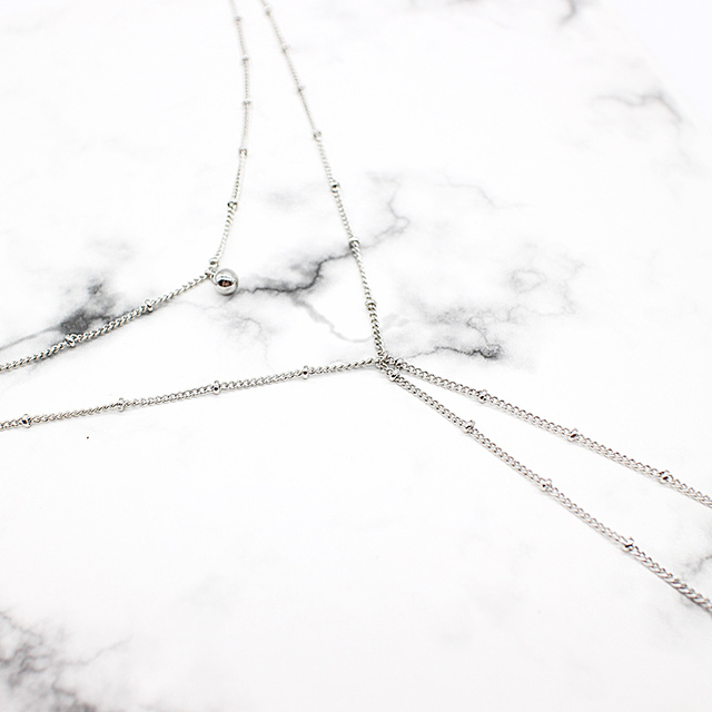 Sexy Beads Chain Lariat Choker Necklaces Long multilayer Water Drop Simple party kolye Statement Jewelry for Women collier femme 2