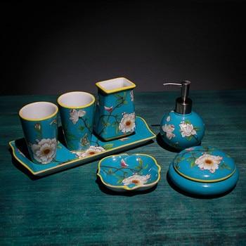 Accesorios de baño conjunto de jabón de cerámica dispensador de jabón taza de cepillo de dientes diseño de estilo europeo azul de alta calidad regalos de boda