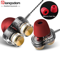 Langsdom Dual Driver Earphone For Phone Headsets Stereo In Ear Earphone With Mic Bass Headset Earbuds