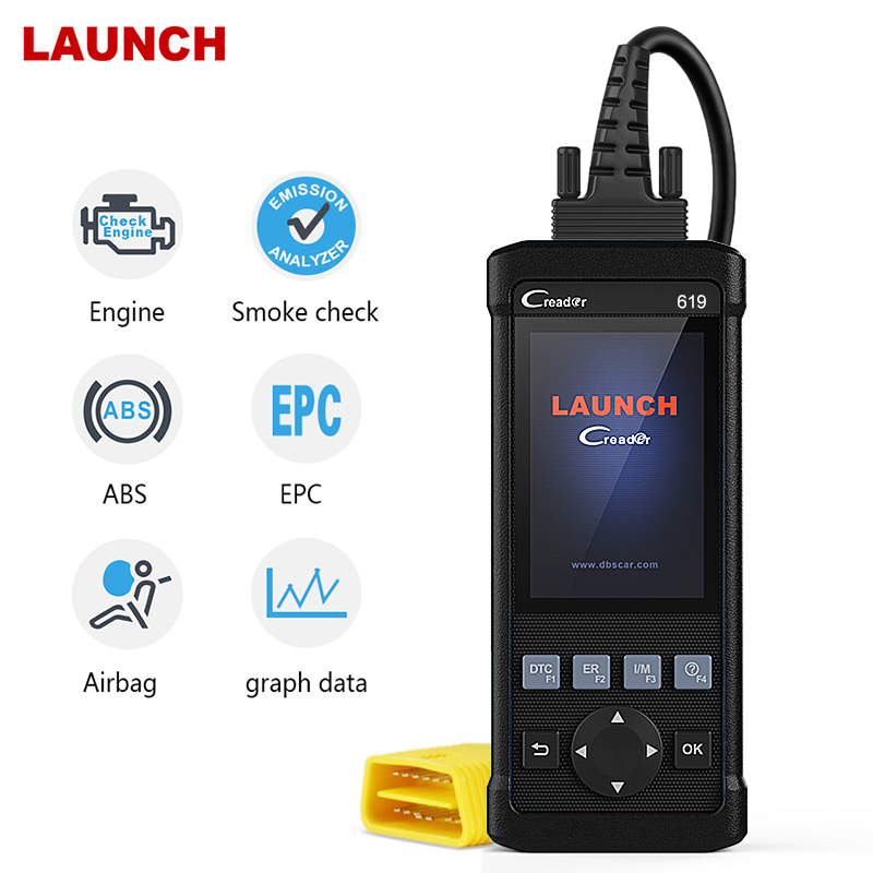 Launch CR619 OBD2 Scanner Engine ABS SRS ODB2 Scan Tool Multi language Launch OBDII Code Reader Launch CR619 OBD2 Scanner Engine ABS SRS ODB2 Scan Tool Multi-language Launch OBDII Code Reader Car Diagnostic Tool Free Update