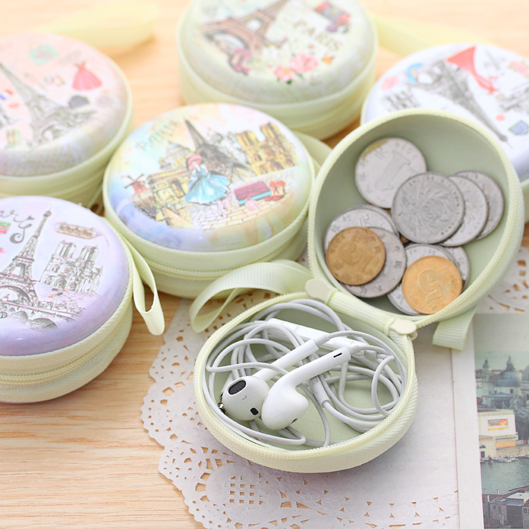 New Multi Functional Round Iron Tin Small Storage Boxes & Bins Jewelry Coin Earphone Box Zipper Bag Candy Pill Case Organizer