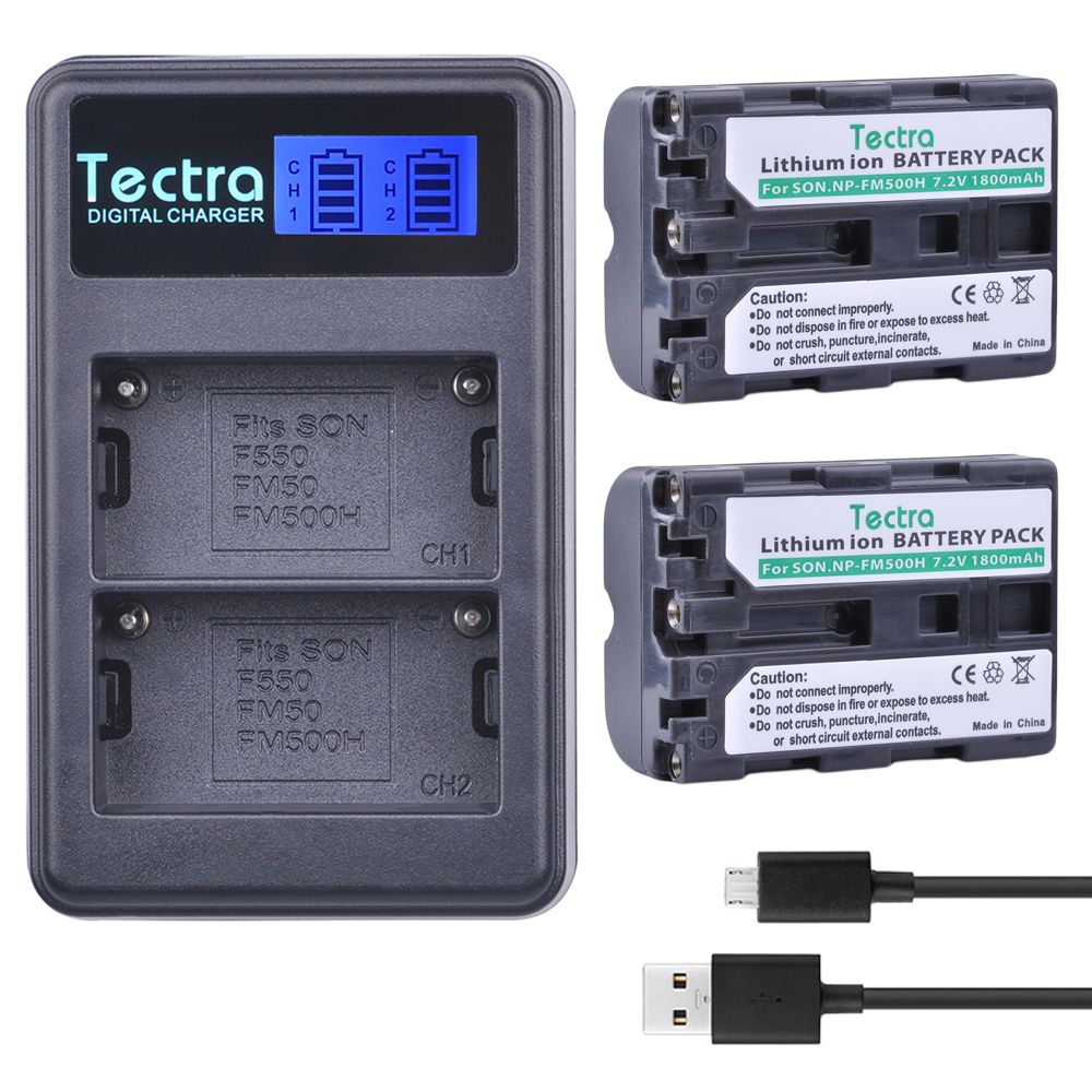 Tectra 2PC NP-FM500H NP FM500H Li-ion Camera Battery+LCD USB Dual Charger for Sony A57 A65 A77 A450 A560 A580 A900 A58 A99 A550 аккумулятор fujimi np fm500h