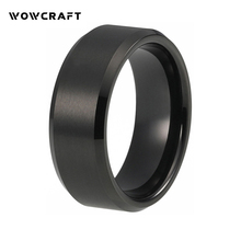Tungsten Wedding Rings for Men Women Brushed Finish with Beveled Edges Black Engagement Band Tungsten Carbide Ring цены онлайн