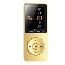 2017 Nuevos Llegan Ultrafino Original IQQ X02 8 GB Reproductor de MP3 Con 1.8 pulgadas de Pantalla Puede Jugar 80 horas Con FM E-libro de Datos de Reloj de Oro