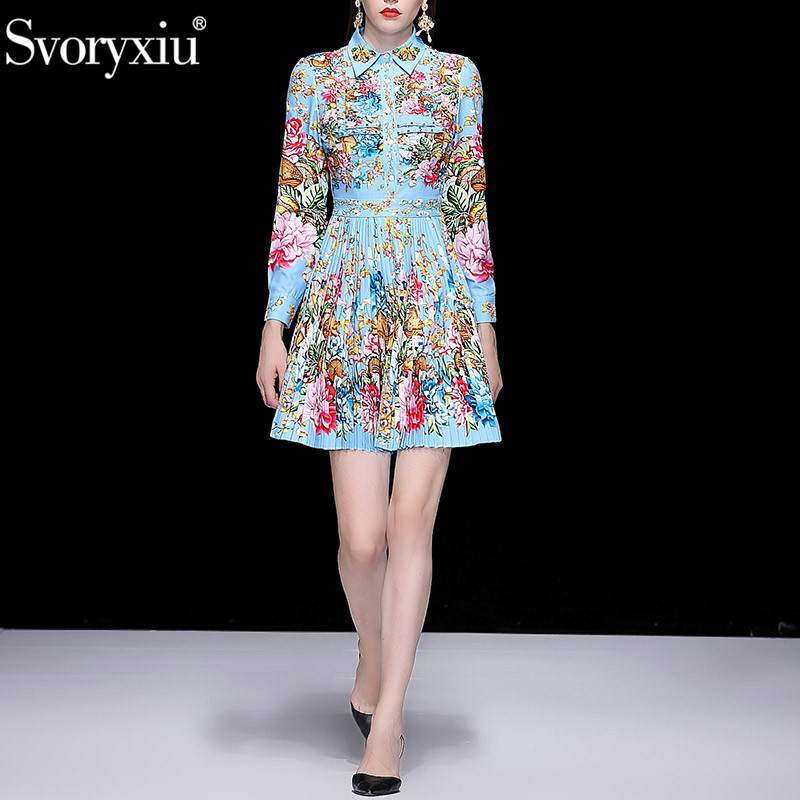 Svoryxiu Elegant Runway Spring Summer Pleated Short Dress Women's Charming Floral Print Diamonds Fashion Party Dresses Vestdios