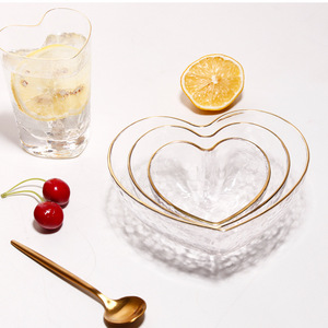 Heart Shape Bowls and Cup Set Japanese Style Glod Rim Clear Glass Food Salad Oats Fruit Dessert Snack Dish Water Milk Tea Cup(China)