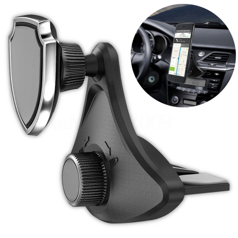 Black 360 Degree Rotating Car CD Slot Mount Magnetic Holder Stand Cell Phone For Android Mobile Smartphone