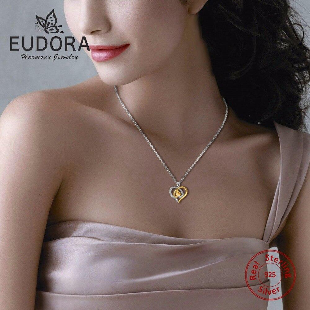 Eudora Echte 925 Sterling Silber Mutter Schmuck Kristall Herz - Modeschmuck - Foto 2
