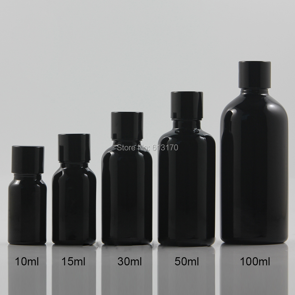 10ml,15ml,30ml,50ml,100ml Empty Glass Bottles Black Aluminium screw Cap Essential Oil Bottles Cosmetic Vials 10ml high grade tower type empty essential oil bottles gold plated crystal aromatherapy bottles page 2