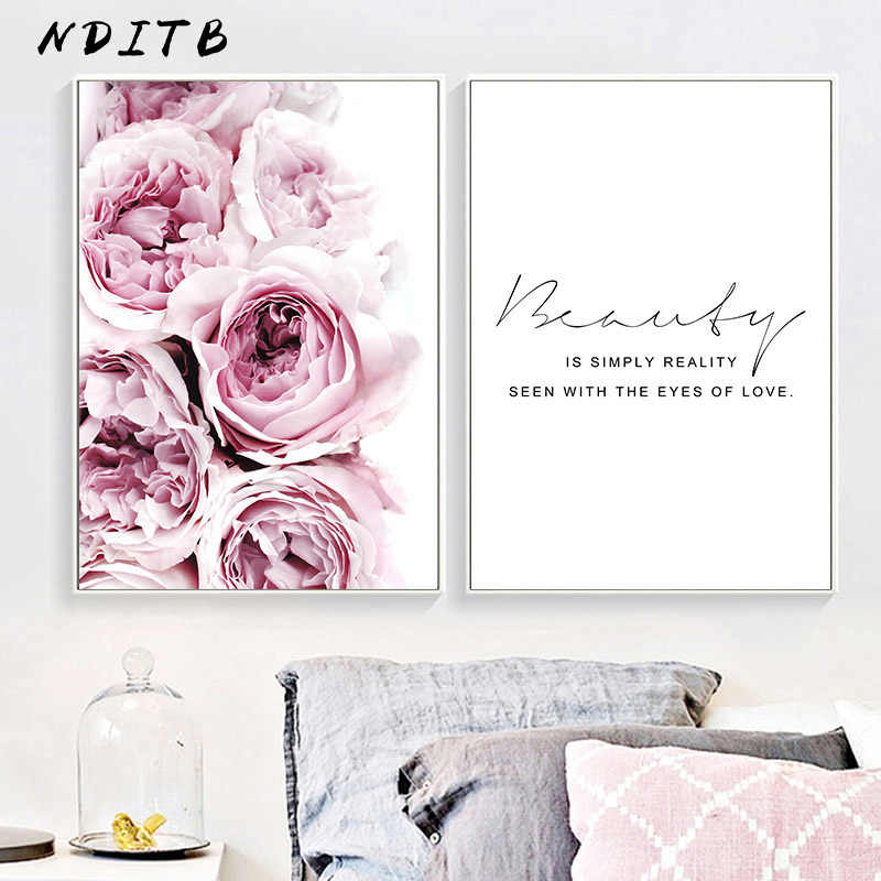 Peony Flower Canvas Motivational Poster Wall Art Print Painting Nordic Style Wall Picture Living Room Scandinavian Home Decor
