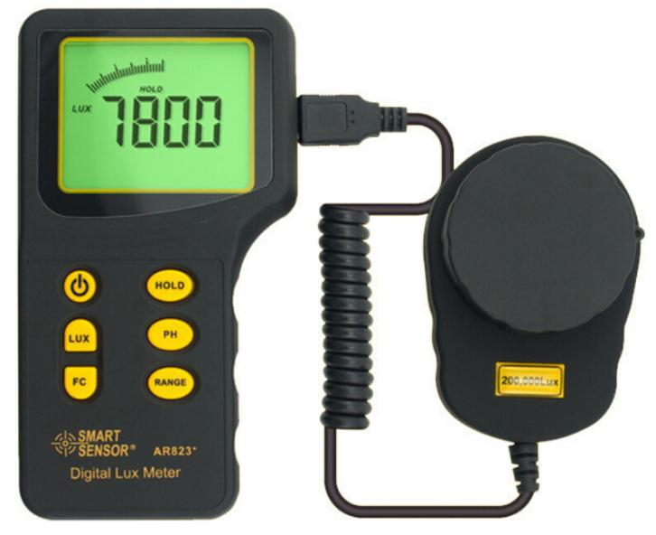 купить Digital Lux Meter AR823 Luxmeter Measuring Range 1~200.000 lux Light Illuminometer Photometer Lux/FC