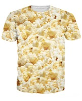 Wholesale Retail Women Men 3d Sport Tops Awesome Popcorn T Shirt Fahsion Clothing Summer Style T