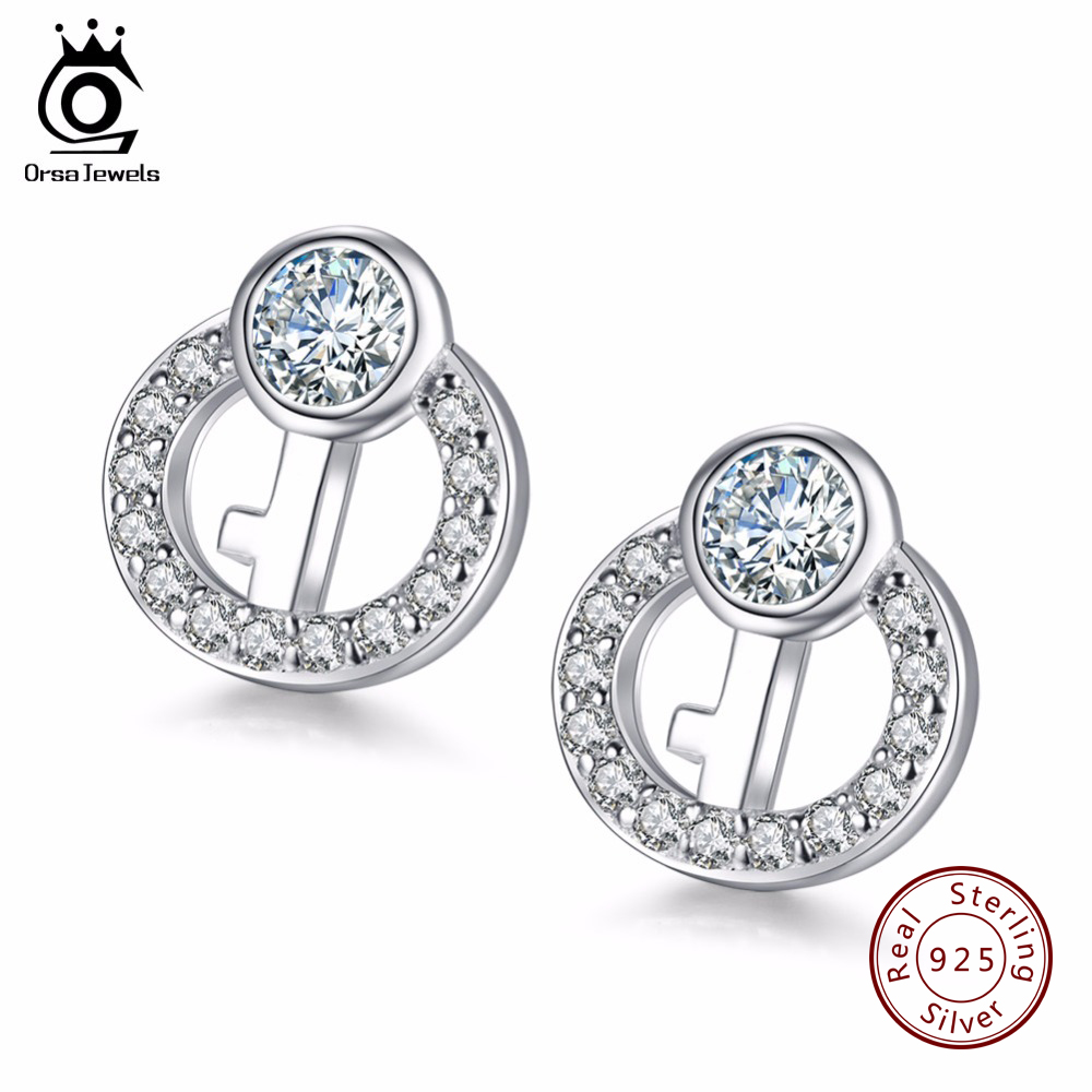 ORSA JEWELS Fashion Key Design 925 Sterling Silver Earrings Studs for Lovers Genuine Silver Women Jewelry SE09 ...