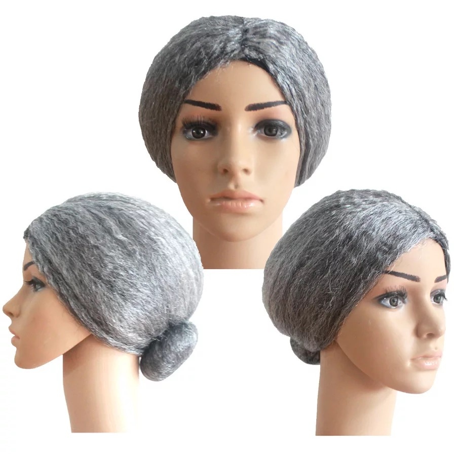 Halloween Granny Toy Wig Festival Movies Old Lady Grandma Hair Wig Halloween Stage Performance Ball Dress Up Party Prop Vent Toy