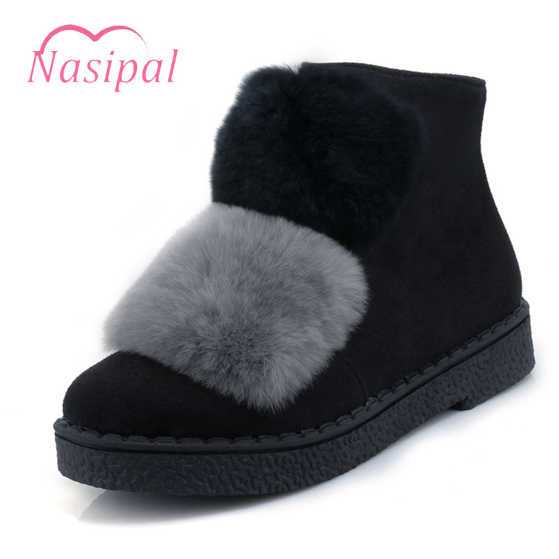 Nasipal Snow Boots Fur Women Winter Boots Warm Cute Ankle Boots For Woman Winter Shoes Low Heel Women Shoes Plus Size 30-45 C218 нивелир ada cube 2 360 home edition a00448