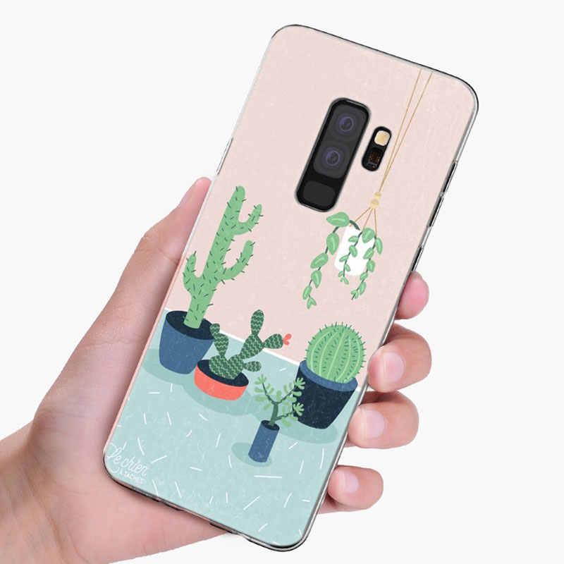 Xương Rồng Lá Cây Silicone Mềm Dành Cho Samsung Galaxy Samsung Galaxy S10 S9 S8 Plus S7 Edge A6 A8 Plus A7 A9 2018 A5 2017 Thời Trang Ốp Da
