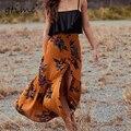 GTIME impressão de cintura Alta As Mulheres saia longa saia maxi divisão floral saia praia feminino natal chic vintage saia de verão # ZKQA1