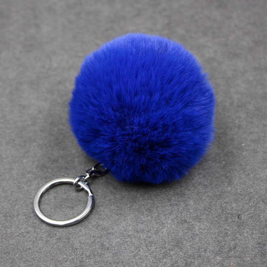 1 peças Bola 8 cm Pompom Keychain Car Chaveiro Coelho da Pele Do Falso Saco de Marca De Pele Pompons pele Bola Chaveiro Encantos Com Correntes chaveiro