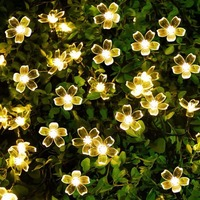 Solar Power LED Fairy String Lights 7M 50 LED Peach Blossom Christmas Trees Wedding Party Decorative