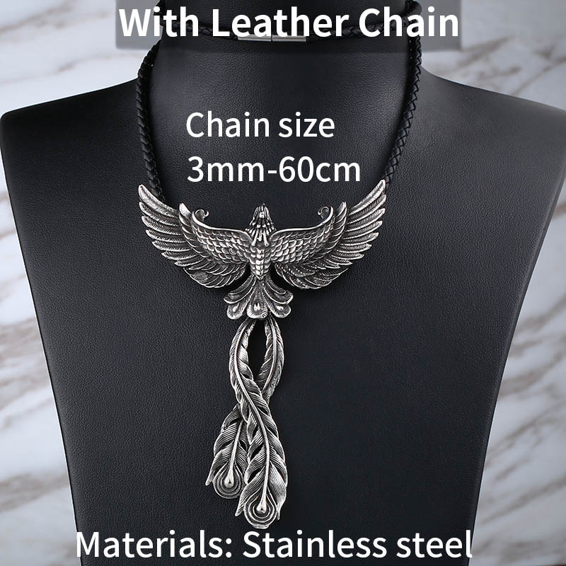 Mythological Phoenix Pendant and Stainless Steel or Leather Necklace