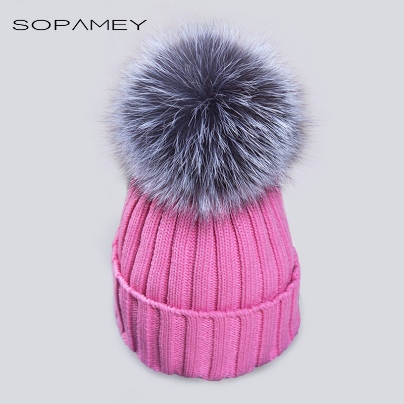 Mink And  Fox Ball Cap Pom Poms Winter Hats for Women Knitted Beanie bone for Girls Brand Hat Female Skullies Stocking Caps
