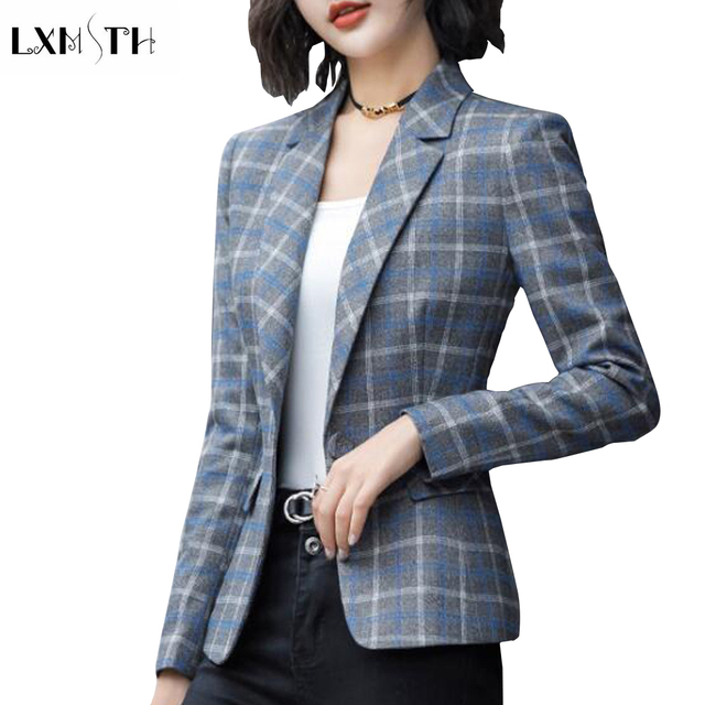 LXMSTH Autumn Fashion Women Plaid Blazer and Jackets Suit Ladies Long Sleeve Office Blazers Plus Size Casual Female Outerwear