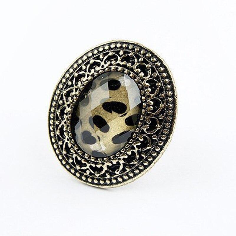 2017 New Arrival Fashion Vintage Style Adjustable Oval Leopard Finger Ring Women Special Design
