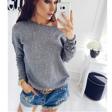 SINFEEL Fashion Sexy Off Shoulder Sweaters Women Autumn Winter Knitted Jumper Sueter Mujer Side Slit ladys sweater pull clothes