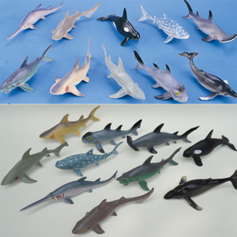 10 Pcs/Lot Soft Plastic Big Sharks Model Set 15-20cm PVC Sea Life Shark Whale Marine Life Action Figure Toys Free Shipping easyway sea life gray shark great white shark simulation animal model action figures toys educational collection gift for kids