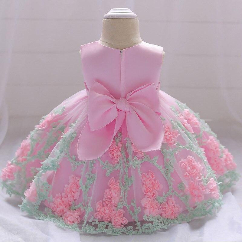 Bebé niñas vestido de bola del cordón bordado recién nacido 1 años  cumpleaños bautismo niña vestido ff172fadcd90