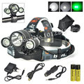 Bright 5000 Lumen Rechargeable Bike Headlight T6+2R2 Green LED Headlamp With Battery+USB/Ac/Car Charger for Bicycle Cycling