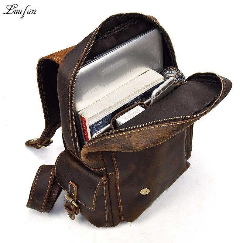 """Duża pojemność mężczyźni plecak Crazy Horse skóry 14 """"na laptopa plecak na laptopa plecak na co dzień prawdziwa krowa skórzany plecak szkolny torby męskie mochila w Plecaki od Bagaże i torby na  Grupa 1"""
