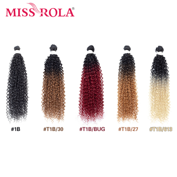 """Miss Rola Ombre Kinky Curly Hair Bundles Synthetic Hair Extensions Hair Weaves 18″-22"""" Brazilian Hair Bundles With Closure"""