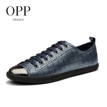 OPP Mens Leather Lace-up Casual Shoes Metal Toe Embossed Leather Fashion Flats Rubber Outsole Shoes zapatillas hombre