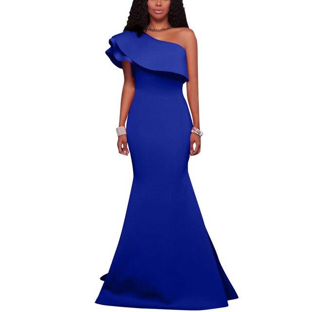 a7017f35c Europeu Mulher Vestido de Festa Longo Sexy Oblíqua Plissado Bodycon Vestido  Até O Chão Sereia de