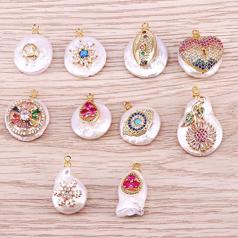 10Pcs Freshwater pearl charm with Cubic Zirconia pendant good plating pearl jewelry handmade diy necklace earring