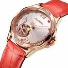 Reloj de pulsera mecánico de lujo de marca JSDUN, reloj de pulsera con diseño de símbolo musical, diamantes, oro rosa, reloj de cuero rojo, relojes de Tourbillon automáticos
