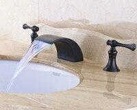 Oil Rubbed Bronze LED Spout Bathroom Sink Faucet Widespread 3pcs Solid Brass Vessel Sink Mixer Tap