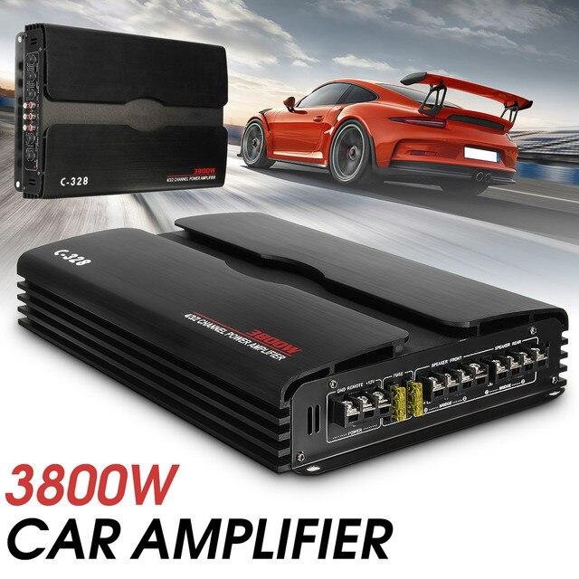 Best Offers 3800W Multichannel Aluminum Alloy Car Amplifier Speaker Powerful Car Audio Power Amplifier Subwoofer Car Truck Stereo Amplifier