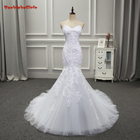 BackLakeGirls 2017 Hot Sales Hand Made Strapless Mermaid With Appliques Beads Back Lace Up Wedding Dresses