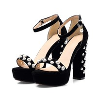 Themost Sexy Ladies Faux Pearl Embellished Ankle Strap Block High Heel Shoes Sandals with Platform Plus Size